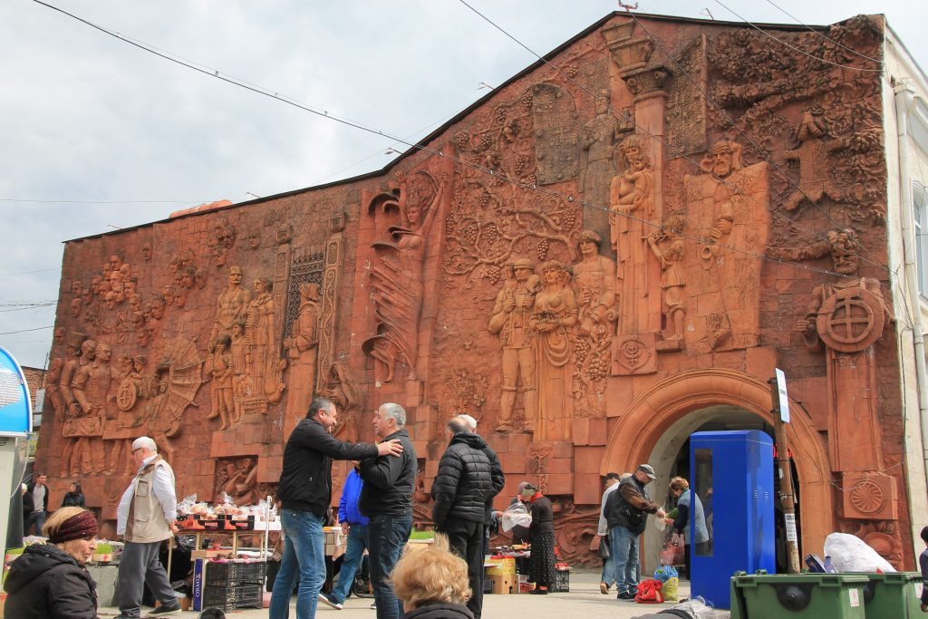 Red wall with reliefs